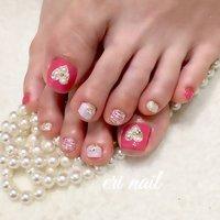 ハートビジューフット💓 今回はピンクにしたいなぁ〜と言うことでサンプルをカラーチェンジして可愛く仕上げさせていただきました💕 とっても可愛いらしくって素敵🤗💕 #フット #チェック #ハート #名古屋市天白区 自宅ネイルサロン eri nail #ネイルブック