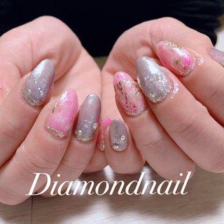 #春ネイル#ジェル #ニュアンスネイル#金箔ネイル #SPRING#pink#キラキラ#オーロラフィルム #春 #ハンド #オーロラ #ピンク #グレージュ #ゴールド #Diamondnail m #ネイルブック