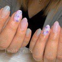 #春 #夏 #オールシーズン #ハンド #シンプル #グラデーション #パステル #スモーキー #healthy nails #ネイルブック