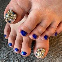 #フットジェル#ブルー#きらきら##うめつくし #フット #ブルー #ゴールド #ジェル #宮城県 石巻 ロージーネイル rosy nail .pupuu Rosy #ネイルブック