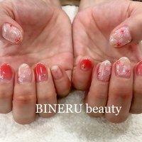 春の桜ネイル🌸🌸🌸シアーカラーのブラウンレッドに白い桜が綺麗です💕 #春ネイル #桜ネイル #BINERU beauty #静岡ネイルサロン #BINERU beauty #ネイルブック