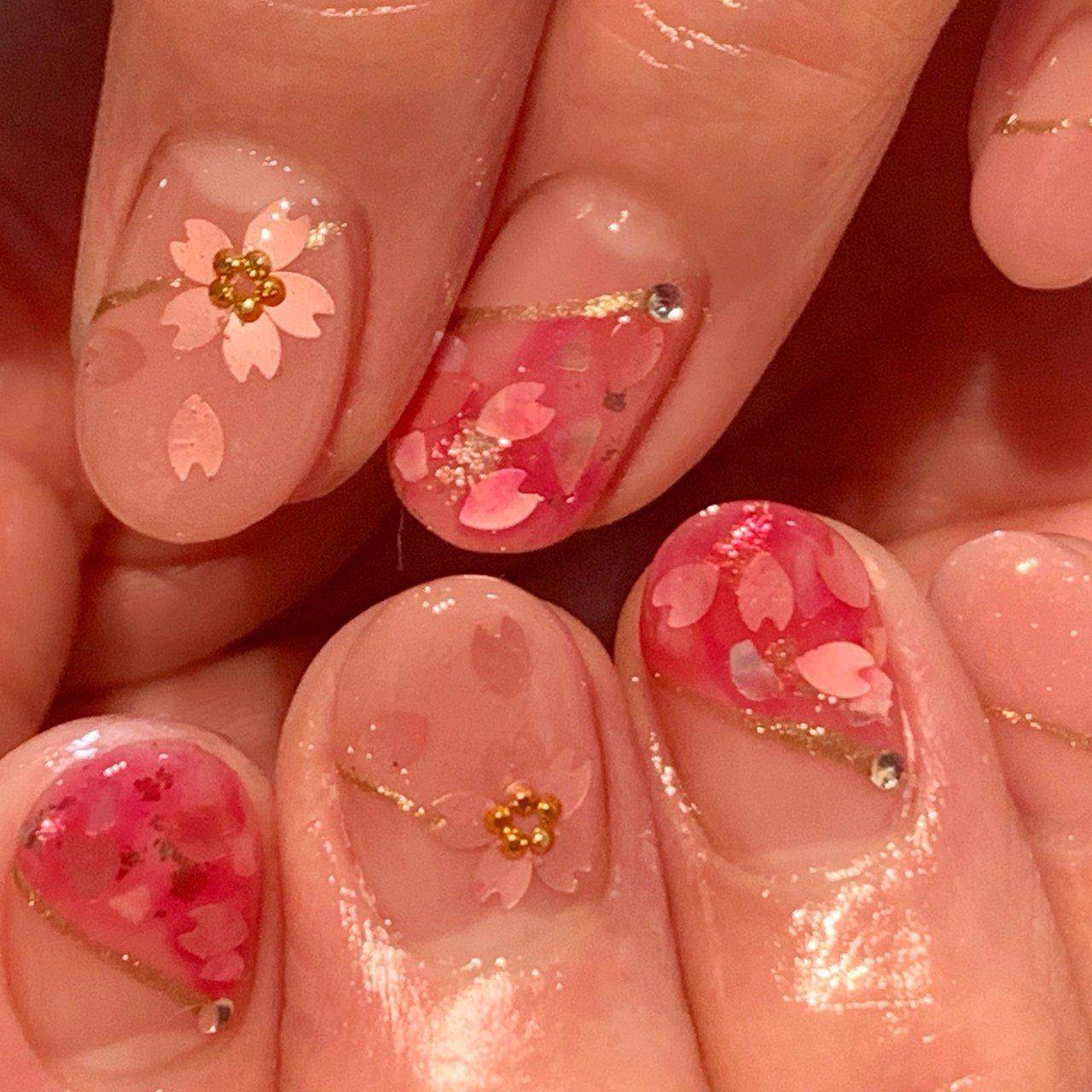 #桜ホログラム #春 #ハンド #ホログラム #ミディアム #ピンク #ジェル #お客様 #ネイルスペースR #ネイルブック