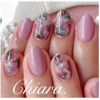 *    春design💍♡   #pinknails         Instagram → yochan4.nail #春 #夏 #オールシーズン #女子会 #ワンカラー #シェル #大理石 #ニュアンス #ピンク #YokoShikata♡キアラ #ネイルブック