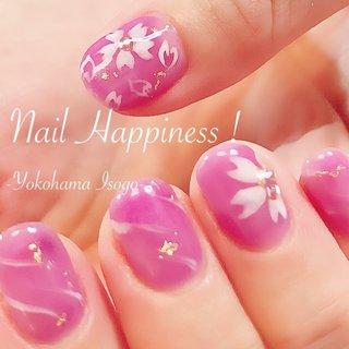 #クリア系カラーネイル #春ネイル2020 #桜ネイル #磯子区ネイルサロン #ワンカラー #フラワー #シースルー #パープル #ジェル #お客様 #Nail Happiness!(ネイルハピネス)*ささきまき #ネイルブック