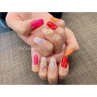 #カラフル #ビジュー #ワンカラー #Nail Salon Rose,h #ネイルブック
