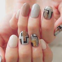 #かわいい#大人かわいい#個性派ネイル #モードネイル#ベージュ #アシメネイル #グレー #ange nail salon #ネイルブック