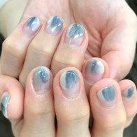 #短い爪でもかわいいネイル #ぬりかけネイル #春 #ハンド #変形フレンチ #ショート #ベージュ #水色 #シルバー #ジェル #お客様 #bronzeeye1001 #ネイルブック