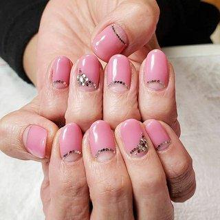お客様ネイル❤  #ピンク #逆フレンチ #ストーンでお花 #ネイル #ジェルネイル #木更津 #君津 #袖ヶ浦 #市原 #出張ネイル #自宅サロン #ねいるさろん きらり #ネイルブック