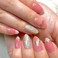 #春ネイル#ピンクネイル#ジェルネイル#お客様 #マーブル#ミラー #azul nail #ネイルブック