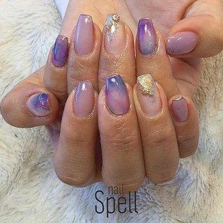 purple nuance💅 ︙ #gelnail#gel#nailspell#nailstagrame #nailsalonspell #nails #春ネイル#ネイル#手描きアート#ジェルネイル#ネイルデザイン#シェルネイル#ネイルブック #kokoist#お花ネイル#上田市ネイルサロン#stonenails #ニュアンスネイル#パープルネイル#ニュアンスデザイン #nailSpell_azusa #ネイルブック