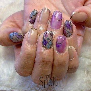 Flower💅 ︙ #gelnail#gel#nailspell#nailstagrame #nailsalonspell #nails #春ネイル#ネイル#手描きアート#ジェルネイル#ネイルデザイン#フラワーネイル#ネイルブック #kokoist#お花ネイル#上田市ネイルサロン#flowernails #ピンクネイル#パープルネイル #nailSpell_azusa #ネイルブック