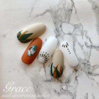 🌸Spring Collection🌸by Grace #春 #ネイティブ #ボヘミアン #大理石 #ニュアンス #ベージュ #オレンジ #グリーン #ジェル #ネイルチップ #gracehadano #ネイルブック