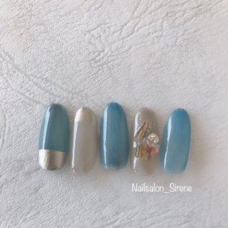 #blue #ミラーネイル  #シェル #モノトーン #スモーキー #カラフル #ジェル #nailsalon_sirene #ネイルブック
