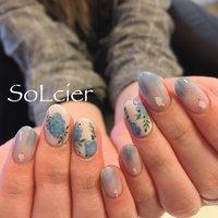 #ハンド #フラワー #ベージュ #水色 #ブルー #【SoLcier】ソルシエ #ネイルブック