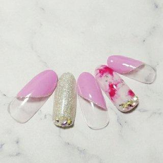 #春 #ハンド #シンプル #ピンク #ジェル #ネイルチップ #あむまき #ネイルブック