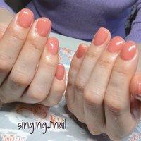 コーラルピンクで春ですね🌸✨フィルイン2回目で、お爪にも変化が見られます💅ありがとうございました♪ #mihonailmiho #ネイルブック