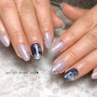 #パープルネイル#フラワーネイル #水彩フラワー #nail & beauty éclat❥ #ネイルブック