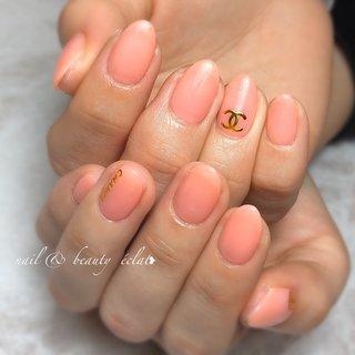 #サーモンピンク #ピンクネイル #シャネルネイル #nail & beauty éclat❥ #ネイルブック