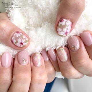 #桜ネイル #春 #卒業式 #入学式 #ハンド #フラワー #ピンク #luludynail #ネイルブック