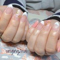 フレンチと桜🌸✨ありがとうございました♪ #mihonailmiho #ネイルブック