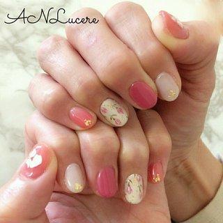 #ピンク#チューリップ#花柄#フラワー#春 #ANLucere(アンルチェーレ) #ネイルブック