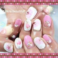 たらしこみ 桜ネイル🎵  淡い色合いで 素敵(* ´ ▽ ` *)ノ #春 #ハンド #フラワー #たらしこみ #ロング #ホワイト #ピンク #ジェル #お客様 #しろみちゃん #ネイルブック
