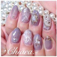*   purplenails 💍♡      Instagram → yochan4.nail #春 #夏 #オールシーズン #梅雨 #ビジュー #シースルー #大理石 #ニュアンス #パープル #YokoShikata♡キアラ #ネイルブック