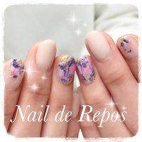 新作デザイン♡ 私とお揃いです(๑˃̵ᴗ˂̵)♪ #ハンド #Nail de Repos〜ルポ〜 #ネイルブック