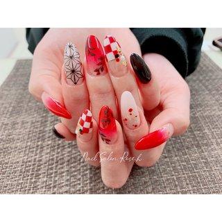 #鬼滅の刃 #和柄ネイル #Nail Salon Rose,h #ネイルブック