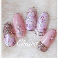 *   春サンプルより💍♡      Instagram → yochan4.nail #春 #夏 #オールシーズン #デート #ラメ #フラワー #ピンク #メタリック #YokoShikata♡キアラ #ネイルブック