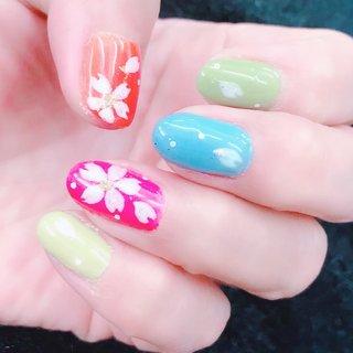 #桜#春#ビタミンカラー #ショート #田園バーバー #ネイルブック