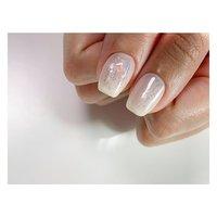 White × shell ⠀ | O+ design₊ #春 #夏 #オールシーズン #シンプル #ワンカラー #シェル #ホイル #ホワイト #パステル #ジェル #お客様 #Yumi #ネイルブック
