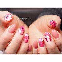 お花畑♡ #春 #オールシーズン #ハンド #フラワー #ピンク #レッド #ジェル #nail room art. #ネイルブック