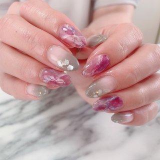 #春 #夏 #パーティー #女子会 #ハンド #シンプル #大理石 #ミディアム #パープル #グレー #ジェル #お客様 #natura-nails(ナチュラネイルズ) #ネイルブック