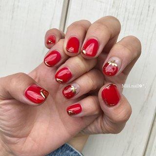 #苺#苺ネイル #いちごネイル #strawberry#赤#赤ネイル#ワンカラーネイル #ワンカラー#春#春ネイル#春ネイル2020 #個性派ネイル#派手ネイル#映えネイル #春 #フルーツ #ショート #レッド #miiinail_115 #ネイルブック