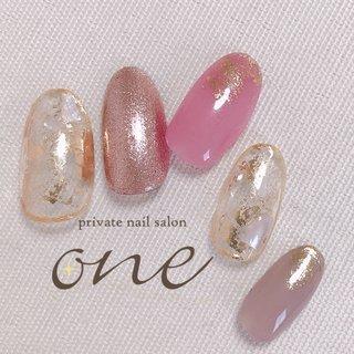#ホイルアート #春 #オールシーズン #ラメ #シェル #ホイル #クリア #ピンク #グレージュ #private nail salon one #ネイルブック