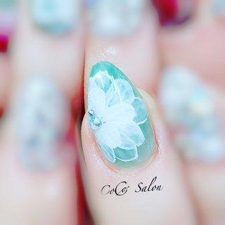#フラワーネイル #春ネイル #ブルー  #たらしこみネイル  #ビジューネイル  #夏ネイル  #トレンドネイル  #エレガントネイル   #nail #nailsalon #nailart #ikebukuro #tokyo #cocosalon #beauty #fashion #naildesign #nailstagram #nailbook #美甲店 #春 #夏 #リゾート #オフィス #ハンド #ワンカラー #ビジュー #フラワー #たらしこみ #ホワイト #グリーン #ターコイズ #ジェル #お客様 #nonちゃん CoCo Salon #ネイルブック