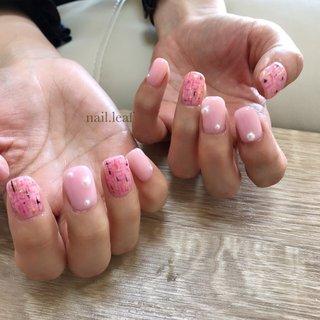 #旅行 #オフィス #デート #女子会 #パール #ツイード #ピンク #ブラック #ゴールド #お客様 #nail.leaf【リーフ】 #ネイルブック