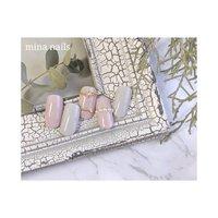 ࿇ 春のグレイッシュピンクにファランジリングアート #春 #オフィス #パーティー #デート #ハンド #シンプル #ワンカラー #ビジュー #ピンク #グレー #ジェル #ネイルチップ #mina nails #ネイルブック
