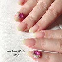 #春 #ハンド #グラデーション #ビジュー #ロング #ピンク #グリーン #ジェル #お客様 #アトール✳︎神戸六甲 #ネイルブック
