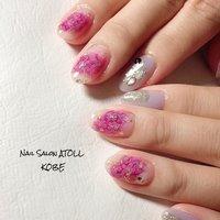 #春 #ハンド #フラワー #ミディアム #ホワイト #ピンク #ジェル #お客様 #アトール✳︎神戸六甲 #ネイルブック