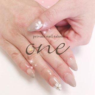 オフィス向け桜ネイル #春 #ハンド #グラデーション #フラワー #private nail salon one #ネイルブック