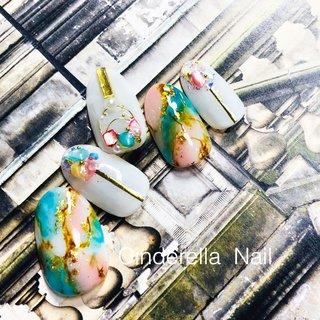 #春ネイル #パステルネイル #天然石ネイル #cinderellanail #ネイルブック