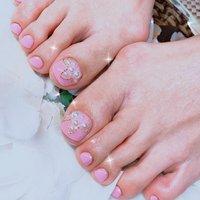 #ピンク #パール #フット #ワンカラー #パール #ホワイト #ピンク #ジェル #お客様 #あめちゃん #ネイルブック
