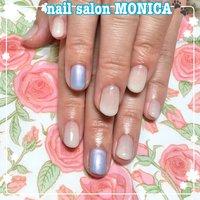 ブルーとホワイトグラデーションがかわいいネイル😍 #春 #ホワイト #水色 #nail salon MONICA 🐾 #ネイルブック