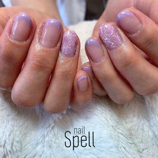 purple french💅 ︙ #gelnail#gel#nailspell#nailstagrame #nailsalonspell #nails #春ネイル#ネイル#手描きアート#ジェルネイル#ネイルデザイン#ネイルブック #kokoist#お花ネイル#上田市ネイルサロン# Frenchnails #フレンチネイル#パープルネイル #nailSpell_azusa #ネイルブック