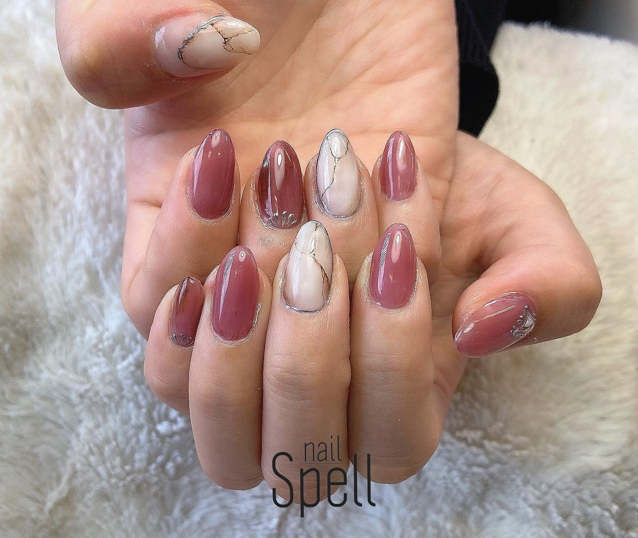 White stone💅 ︙ #gelnail#gel#nailspell#nailstagrame #nailsalonspell #nails #春ネイル#ネイル#手描きアート#ジェルネイル#ネイルデザイン#くすみピンクネイル#ネイルブック #kokoist#上田市ネイルサロン#stonenails #ニュアンスネイル#大理石ネイル #nailSpell_azusa #ネイルブック