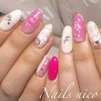 #画像持ち込みネイル #ピンク#マーブル #水戸市ネイル&スクール Nails nico #ネイルブック