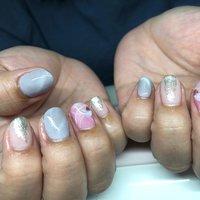 キャンペーンネイル #オールシーズン #ハンド #ホワイト #ピンク #グレー #ジェル #お客様 #nail_charmant #ネイルブック