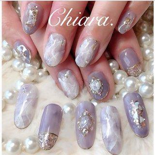 *    purplenails 💍♡       Instagram → yochan4.nail #春 #夏 #オールシーズン #梅雨 #ラメ #ビジュー #シェル #シースルー #大理石 #パープル #YokoShikata♡キアラ #ネイルブック